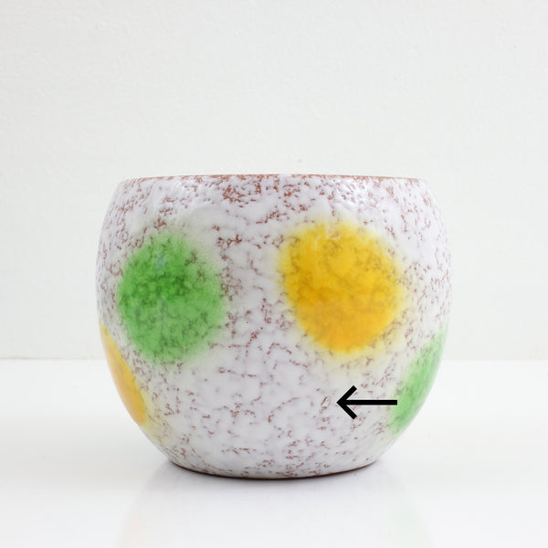 SOLD - Mid Century West German Polka Dot Pottery Planter