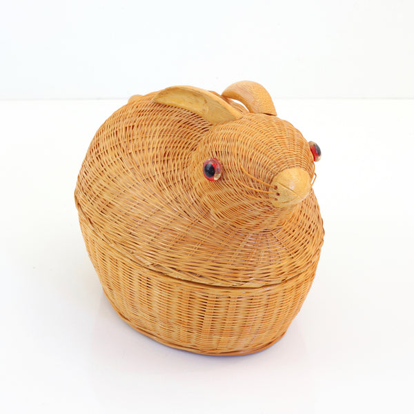 SOLD - Vintage Wicker & Bamboo Rabbit Basket