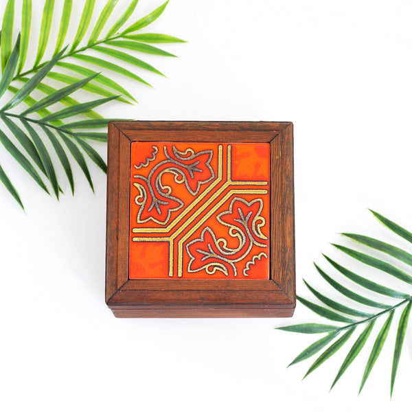 Vintage Wood & Ceramic Tile Trinket Box