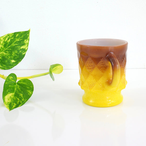 SOLD - Vintage Anchor Hocking Yellow Brown Ombre Kimberly Milk Glass Mug