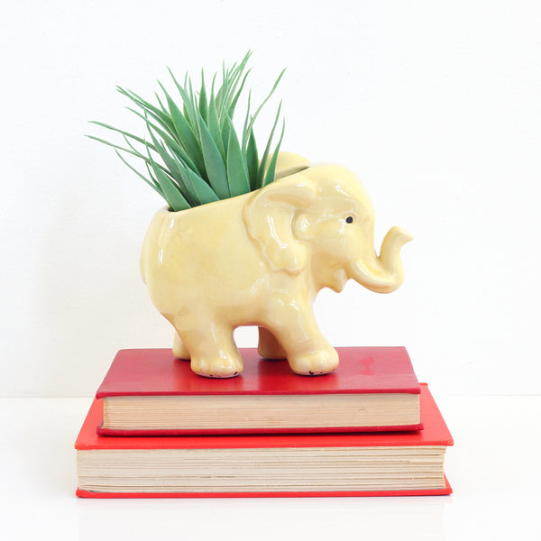 SOLD - Vintage McCoy Yellow Elephant Planter