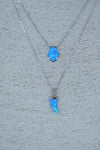 Sterling Silver Blue Opal Horn Necklace