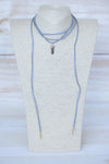 Suede Wrap Choker -Grey with Deep Purple Pendant