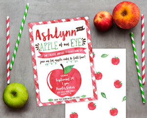 Apple of my Eye Birthday Invitation (fruit birthday, fall birthday, autumn party, 1st birthday)