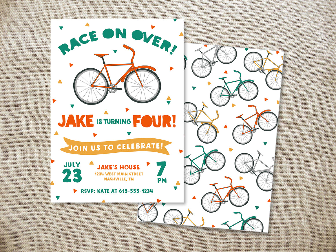 Modern Bicycle Birthday Party Invitation