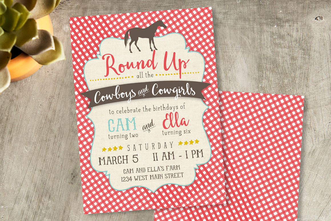 Cowboy & Cowgirl Birthday Invitation