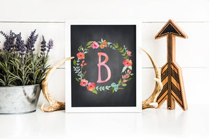 Floral Watercolor Letter B Chalkboard printable art (instant download)