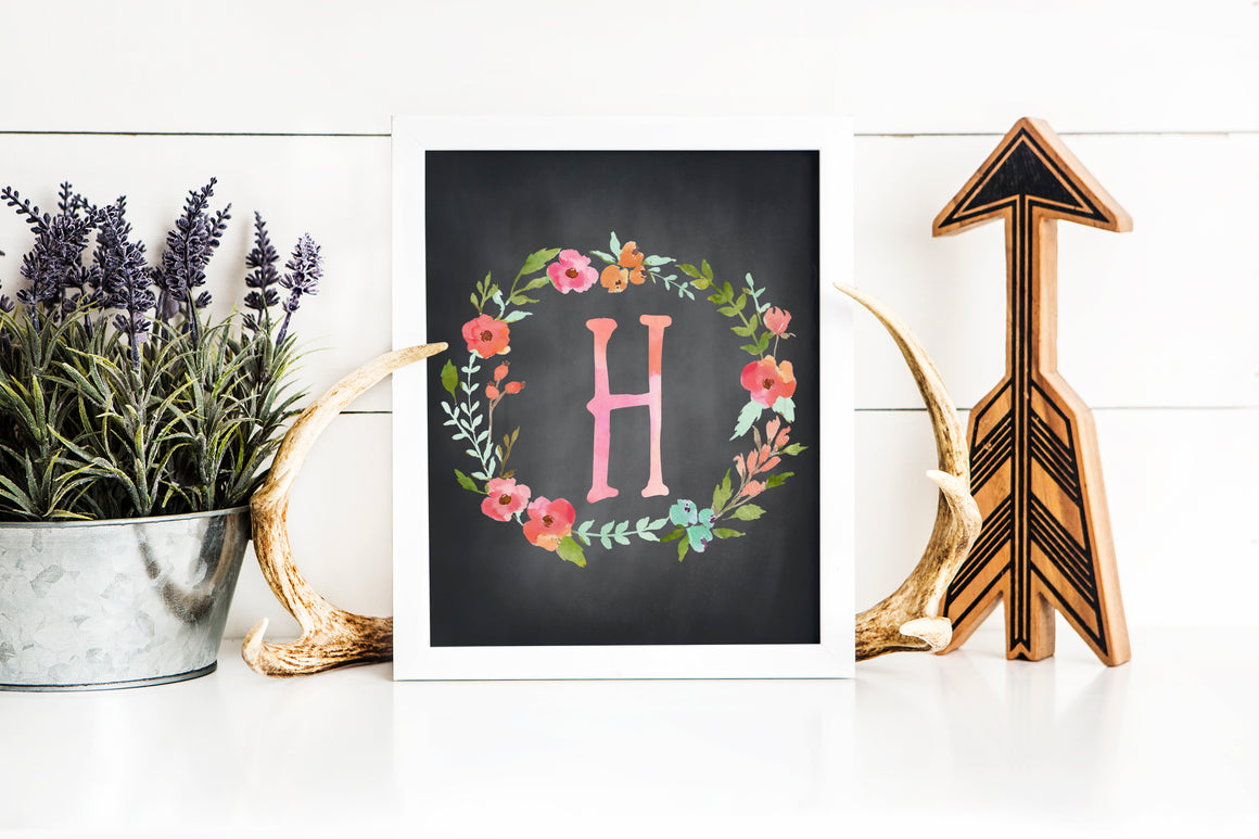 Floral Watercolor Letter H Chalkboard printable art (instant download)