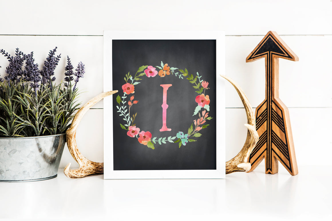 Floral Watercolor Letter I Chalkboard printable art (instant download)