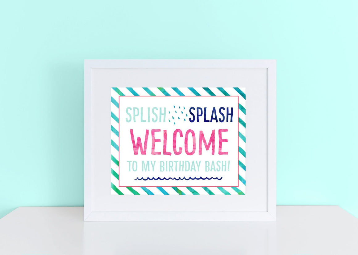 Instant Download Splash Pool Birthday Welcome 8x10 Sign DIGITAL PDF FILE Print your own sign birthday party decor printable summer