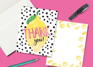 INSTANT DOWNLOAD -Lemonade Party Thank You Card - Printable Double Sided Birthday Party Thank You Cards Thank You Note Card Lemon Card