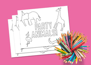 Zoo Party Coloring Page (instant download)