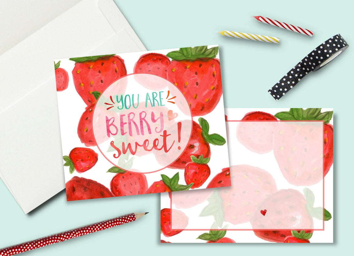 INSTANT DOWNLOAD -Strawberry Party Thank You Card - Printable Double Sided Birthday Party Thank You Cards Custom Thank You Note Card