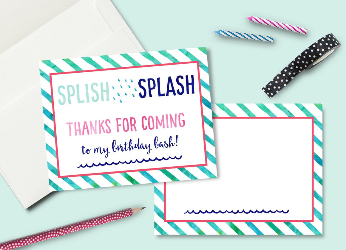 INSTANT DOWNLOAD -Girl Splash Party Thank You Card - Printable Double Sided Birthday Party Thank You Cards Custom Thank You Note Card