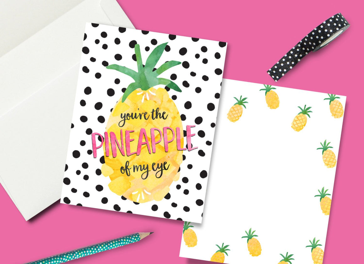 INSTANT DOWNLOAD -Pineapple of my Eye Party Thank You Card - Printable Double Sided Birthday Party Thank You Cards Thank You Note Card