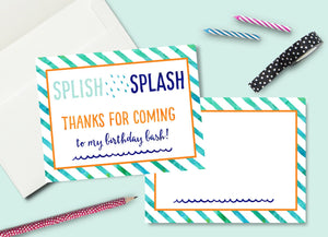 INSTANT DOWNLOAD -Boy Splash Party Thank You Card - Printable Double Sided Birthday Party Thank You Cards Custom Thank You Note Card