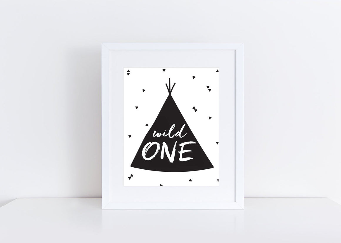 Instant Download Wild One 8x10 Sign DIGITAL PDF FILE Print your own sign birthday party decor printable teepee boho birthday home decor mod