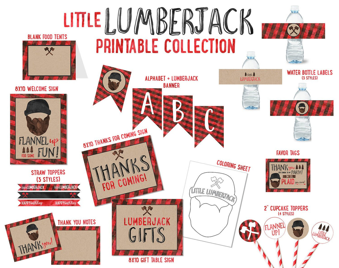Little Lumberjack Birthday Party Printable Collection (instant download)