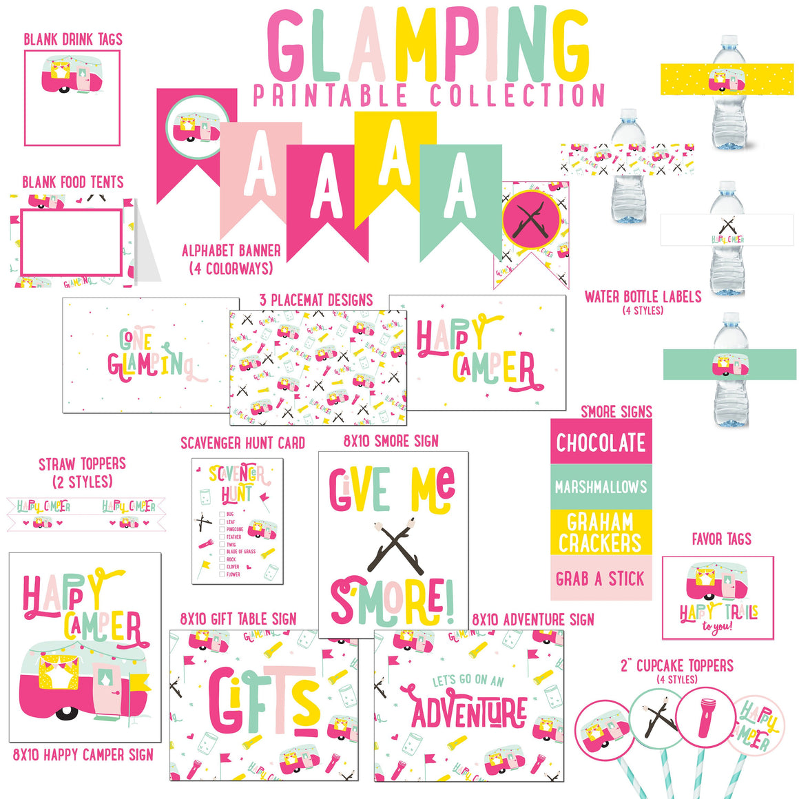 Camping Birthday Party Printable Collection Digital Download