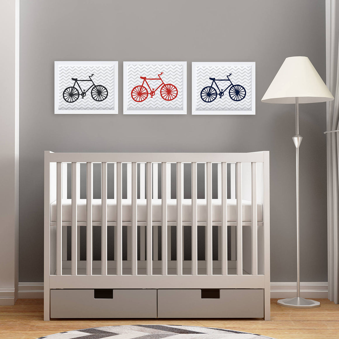 Bicycle Nursery Wall Art Printables - Set of 3 (instant download)