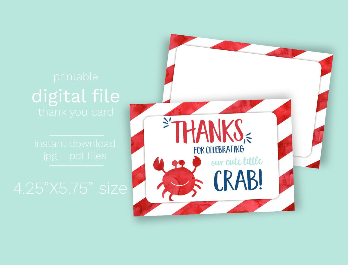 INSTANT DOWNLOAD -Crab Party Thank You Card - Printable Double Sided Birthday Party Thank You Cards Custom Thank You Note Card