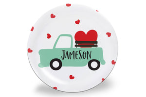 Old Blue Truck with Hearts Valentine's Day Personalized Plate