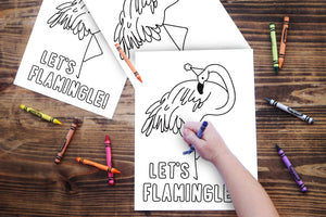 Flamingo Birthday Party Coloring Sheet (instant download)