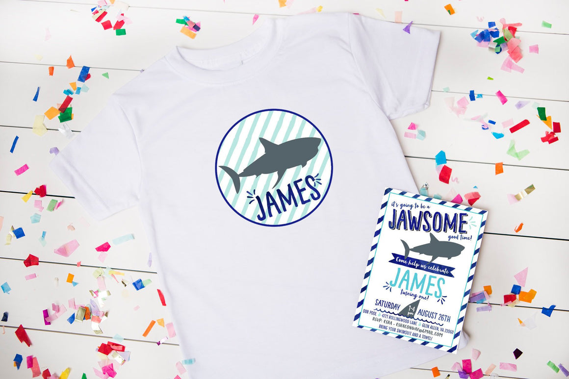 Shark Birthday Party, Personalized Shirt, Coordinates with Shark Party Invitation, boy party shirt, party outfit, shark party, boy birthday