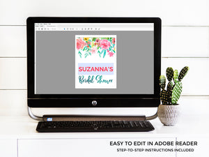 Watercolor Floral Bridal Shower EDITABLE Welcome Sign (instant download)