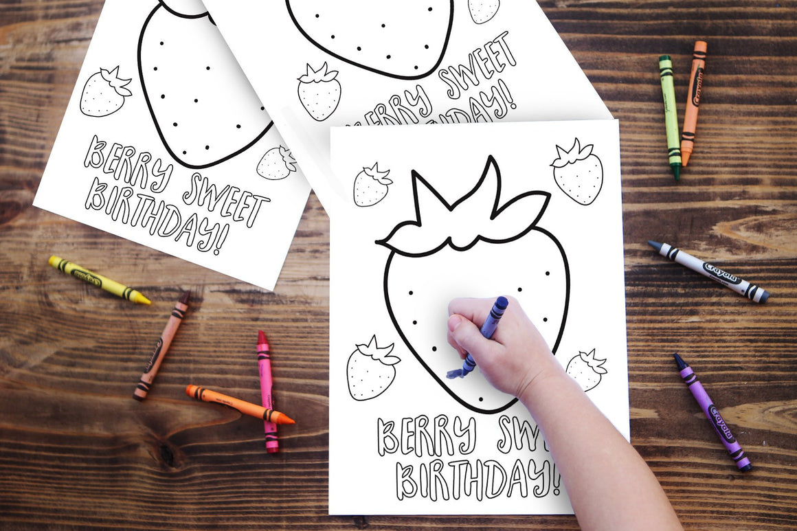 Strawberry Birthday Party Coloring Sheet (Instant Download)