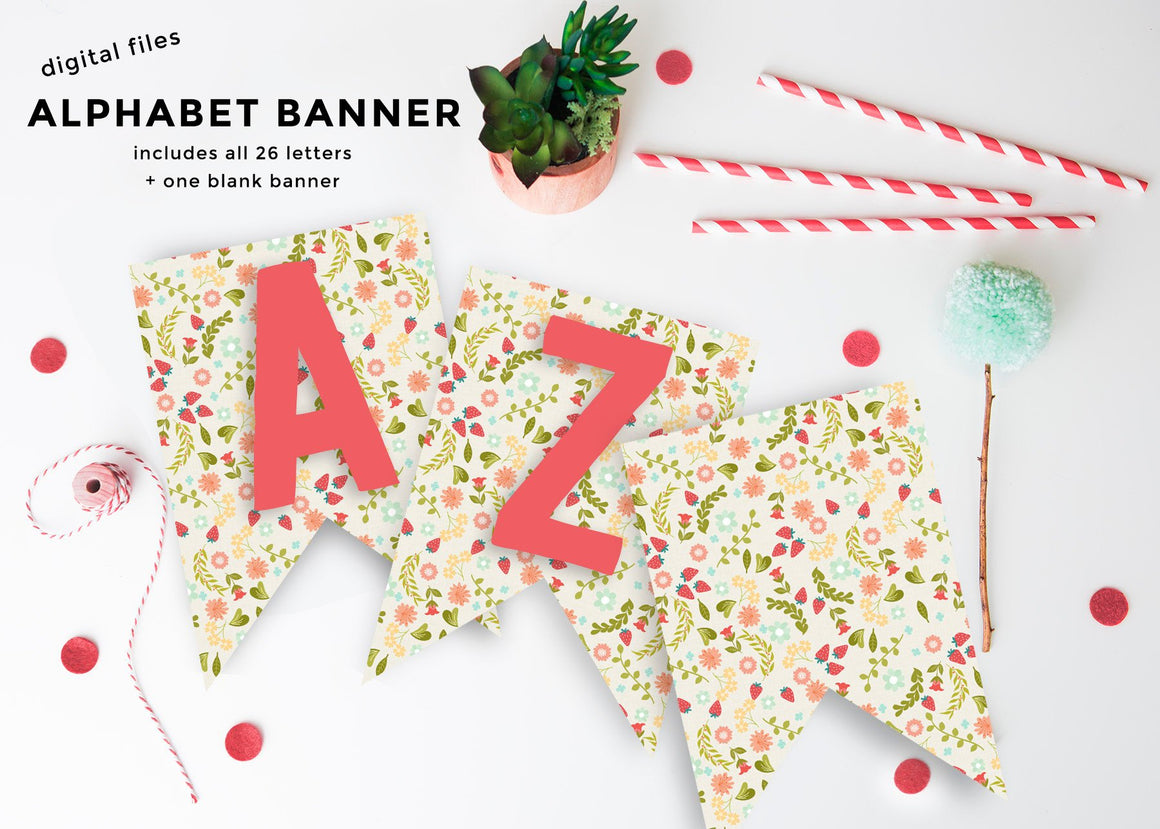 Farmers Market Floral Birthday Alphabet Banner (Instant Download)