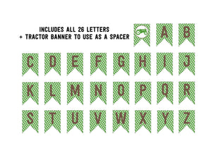 Green Gingham Tractor Birthday Alphabet Banner (Instant Download)