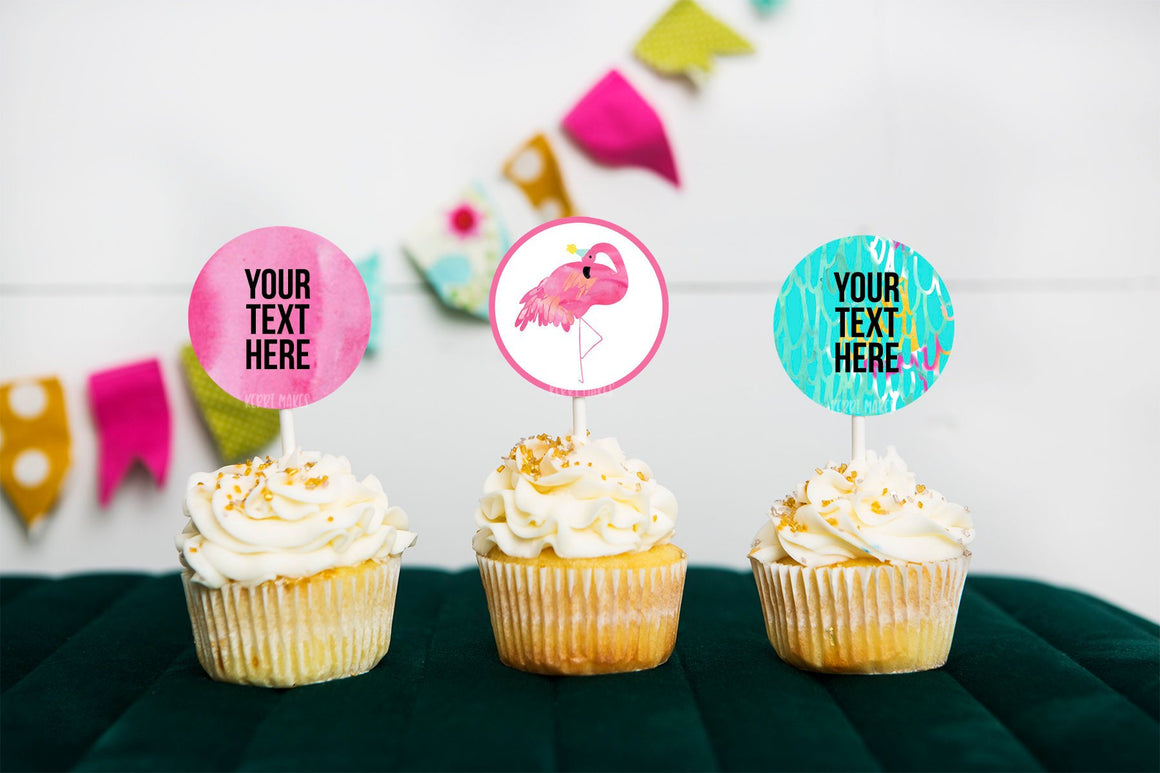 Pink Flamingo Cupcake Toppers INSTANT DOWNLOAD, party printables, party decor, summer party, birthday printables, pool party, girl birthday