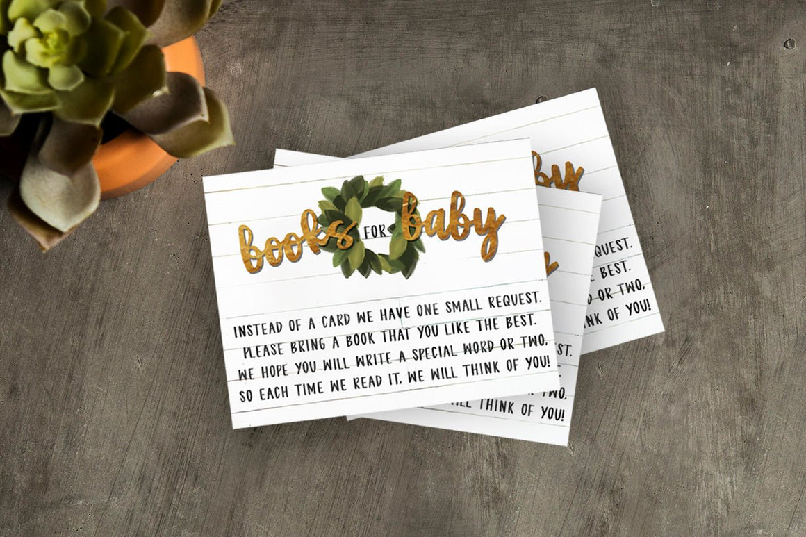 Rustic Shiplap Baby Shower Books for Baby Insert Card (instant download)