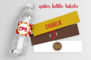 Red Tractor Birthday Party Water Bottle Labels - Editable PDF with instructions