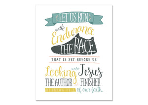 Hebrews 12:1 Wall Print - great gift for a Runner! (instant download)
