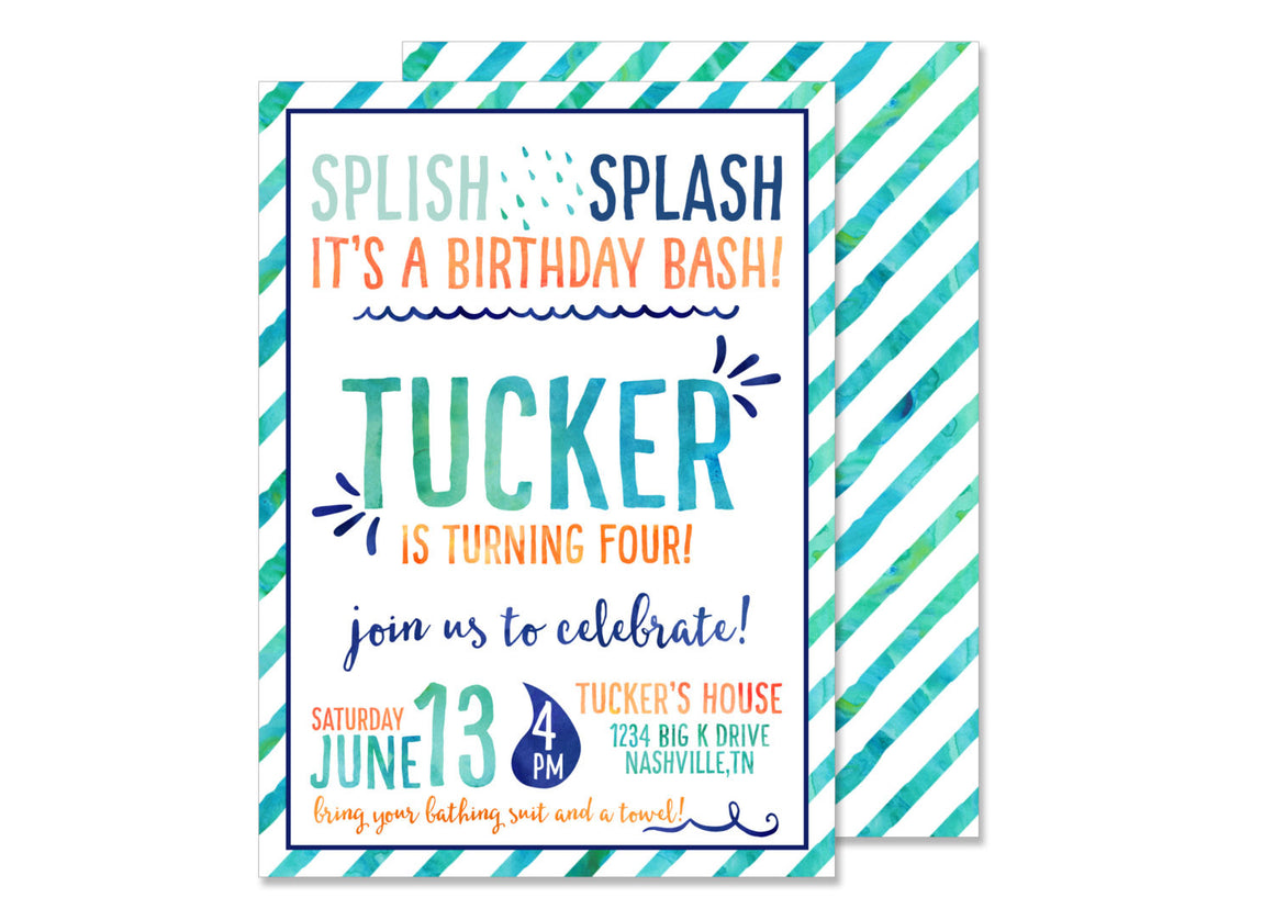 Boy Splash Water Birthday Invitation