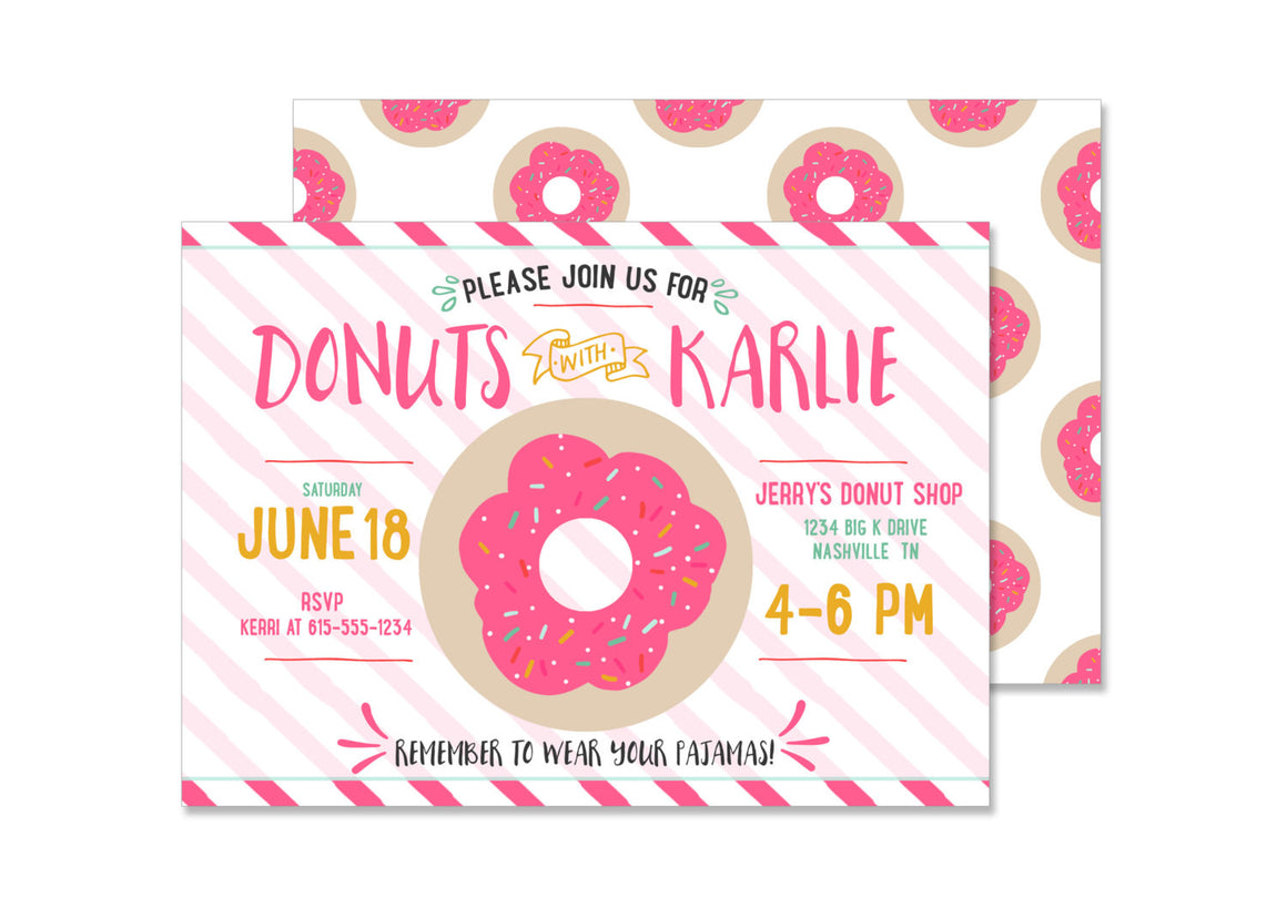 Donut Girl Birthday Invitation