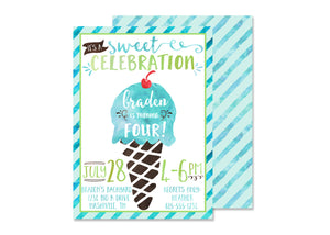 Blue Ice Cream Birthday Invitation (summer birthday, summertime party, sweet birthday)