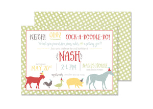 Farm Animals Birthday Invitation