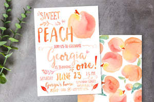 Sweet as a Peach Birthday Invitation