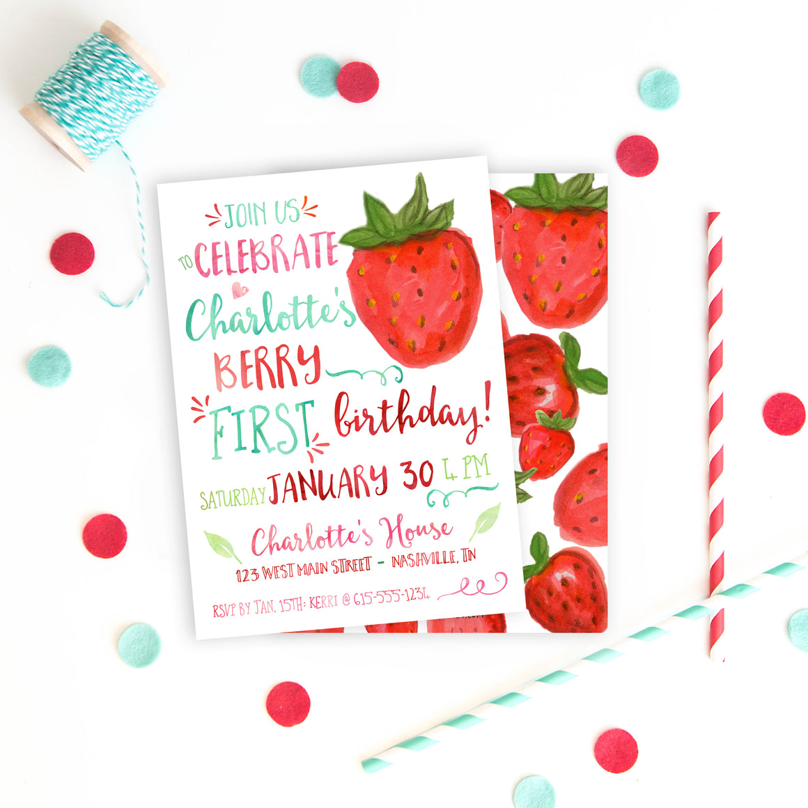Watercolor Strawberry Invitation (1st birthday)