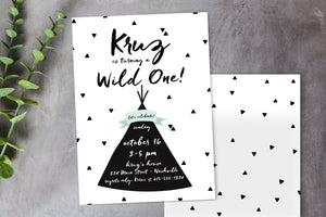 Wild One Tribal Teepee Birthday Party Invitation