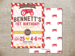 Red Tractor Birthday Invitation