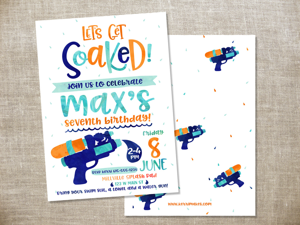 Water Gun Birthday Party Invitation