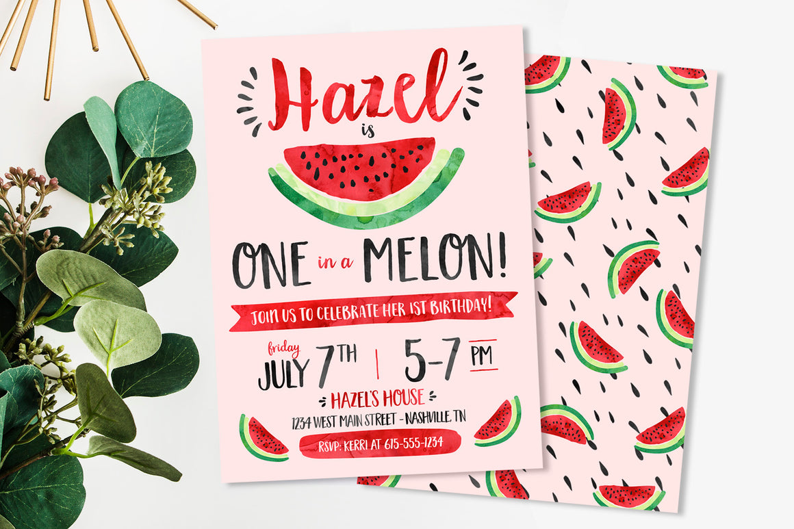 One in a Melon Watermelon Birthday Party Invitation