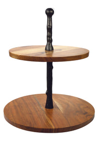 Acacia & Onyx Two-Tier Stand