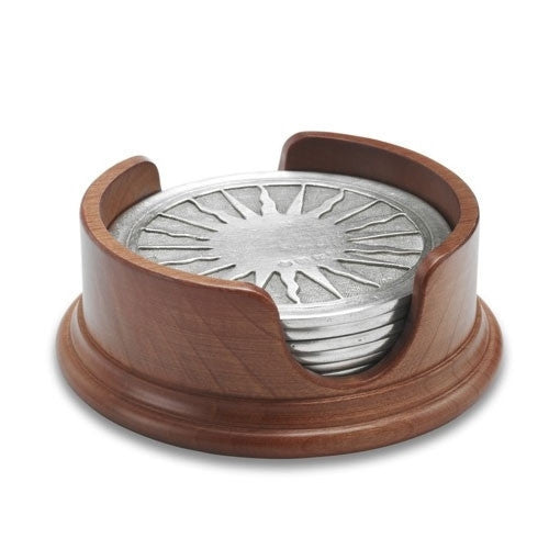 Match Pewter |  Sun Coasters in Wood Base-Set of 6 - GDH | The decorators department Store - 1