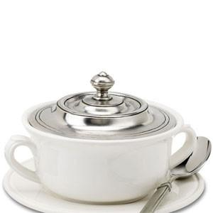 Match Pewter Covered Soup Bowl - GDH | The decorators department Store - 1