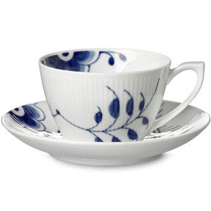 Blue Fluted Mega Tea Cup and Saucer - GDH | The decorators department Store